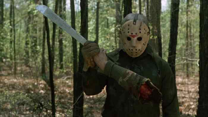 Jason attacks anyone who comes to camp lake crystal and this person is no exception as he chops off their arm.
