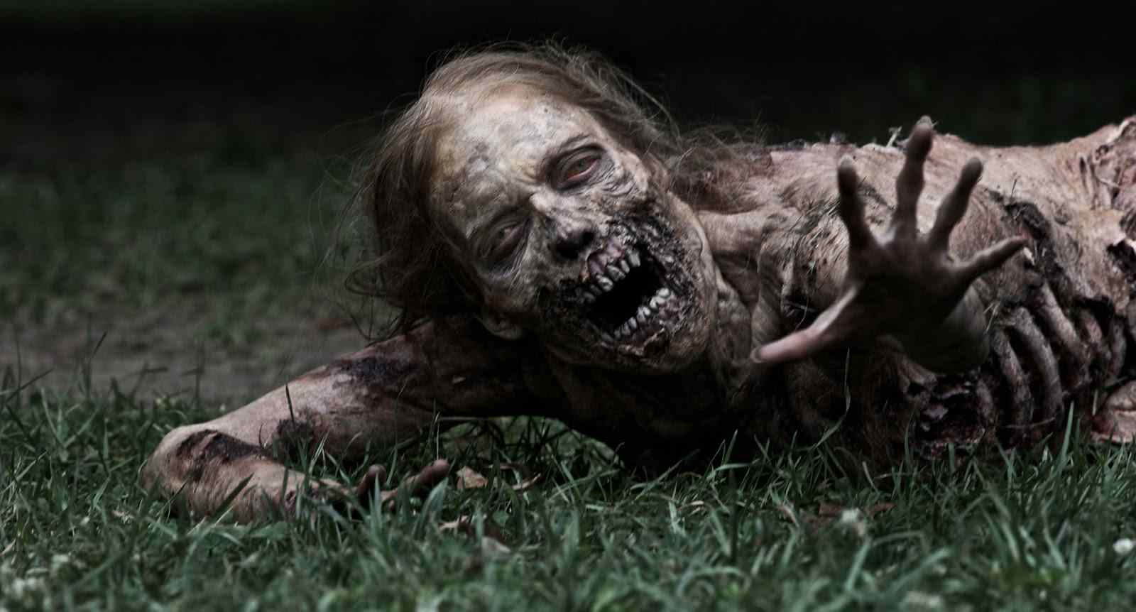 a dead zombie woman crawling and desperate for meat in the walking dead.