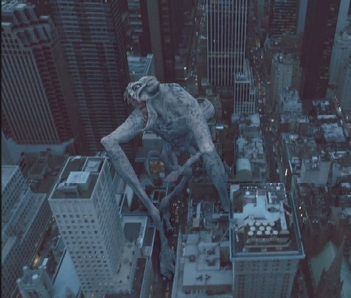 The monster from the Cloverfield in which an unknown species causes destruction in New York.
