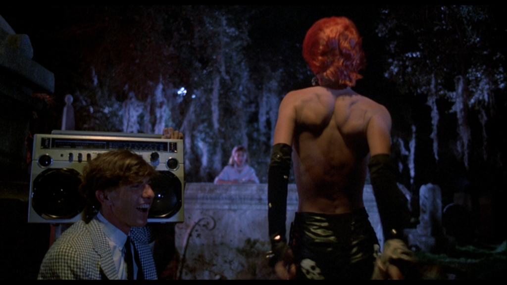Linnea Quigley who plays seductive Trash in the horror movie The Return of the Living Dead.