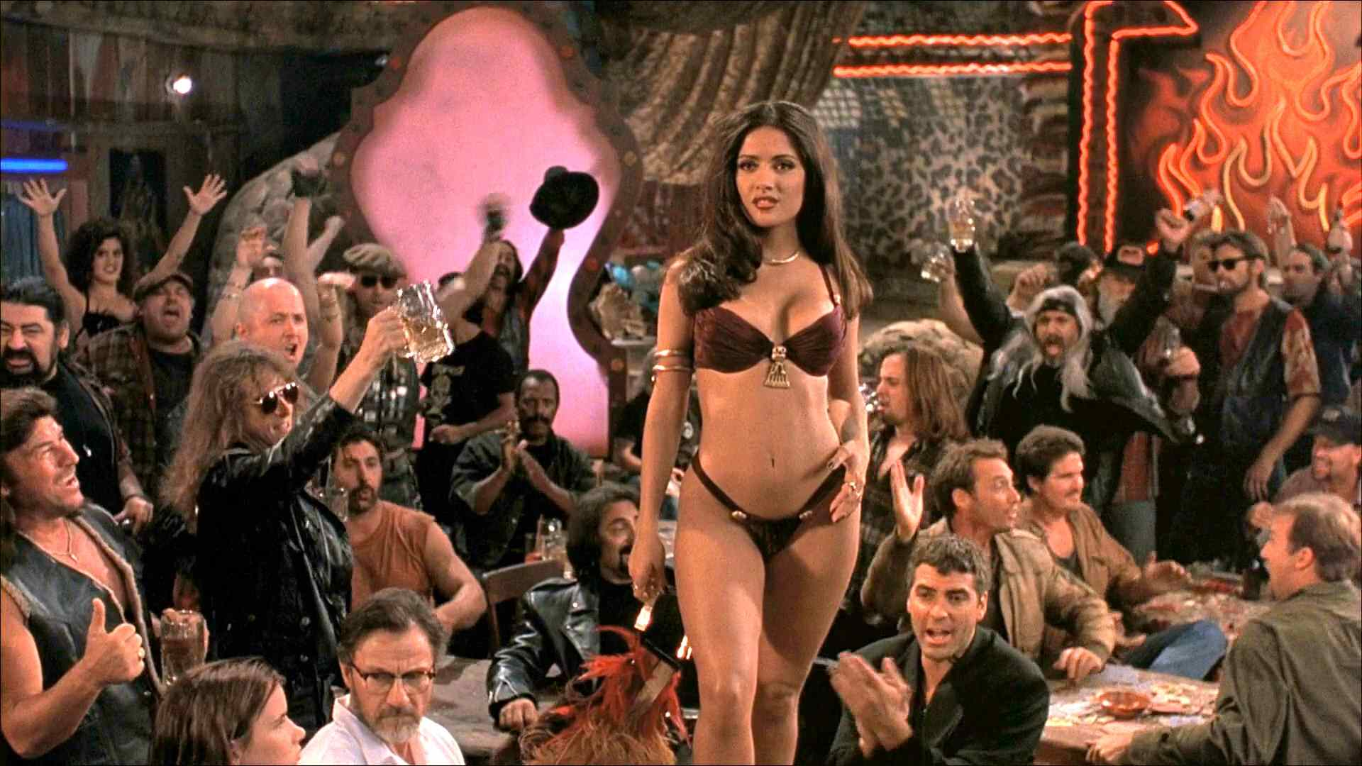 Sexy Salma Hayek in the hit movie From Dusk till Dawn written by Quentin Taratino and starring George Clooney.