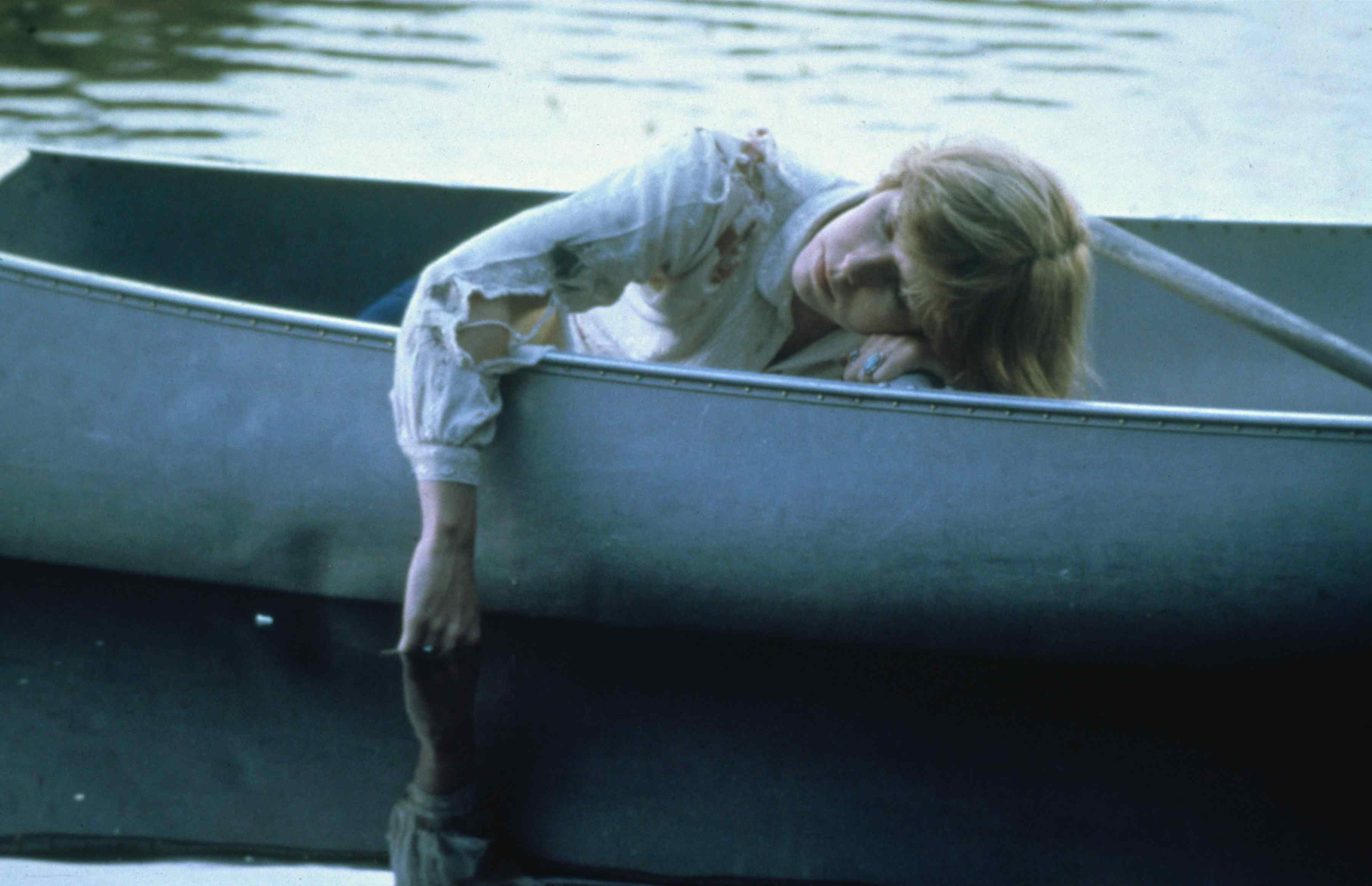 Alice (Adrienne King) in a canoe at the end of Sean S. Cunningham's slasher film Friday the 13th 1980.