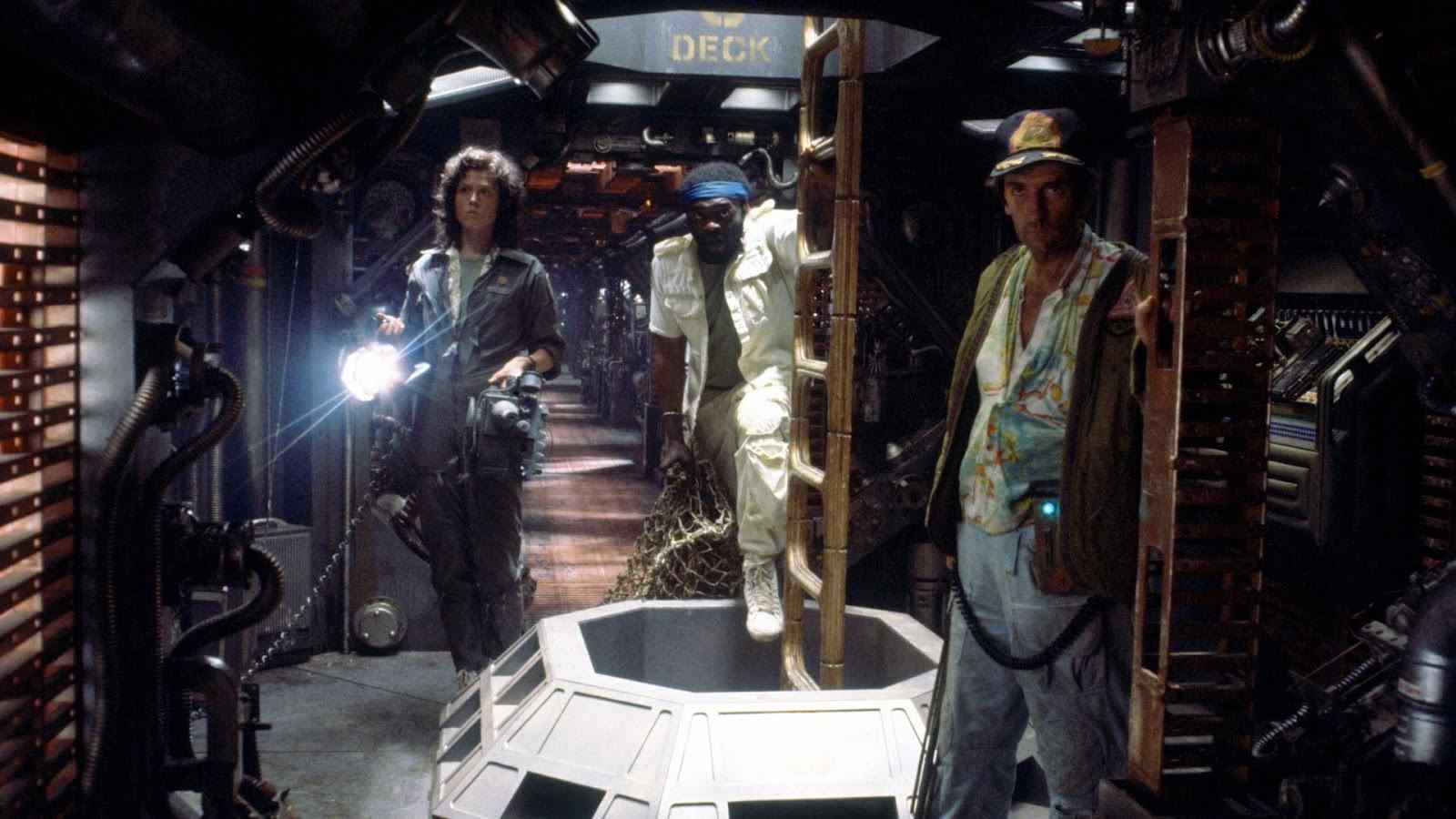 The cast of Ridley Scott's Alien searching their ship.