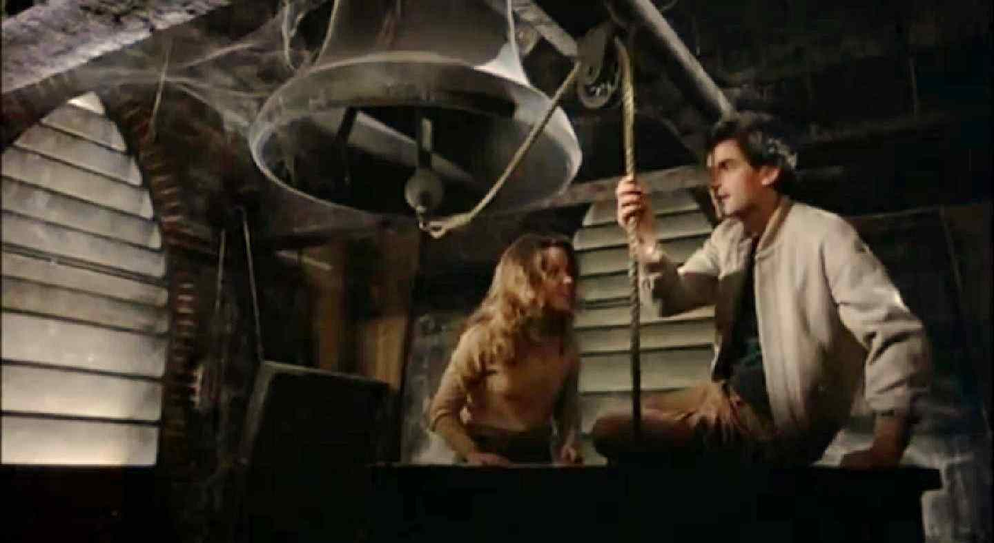 Ginny (Melissa Sue Anderson) in the bell tower in J. Lee Thompson's 1981 slasher Happy Birthday to Me.