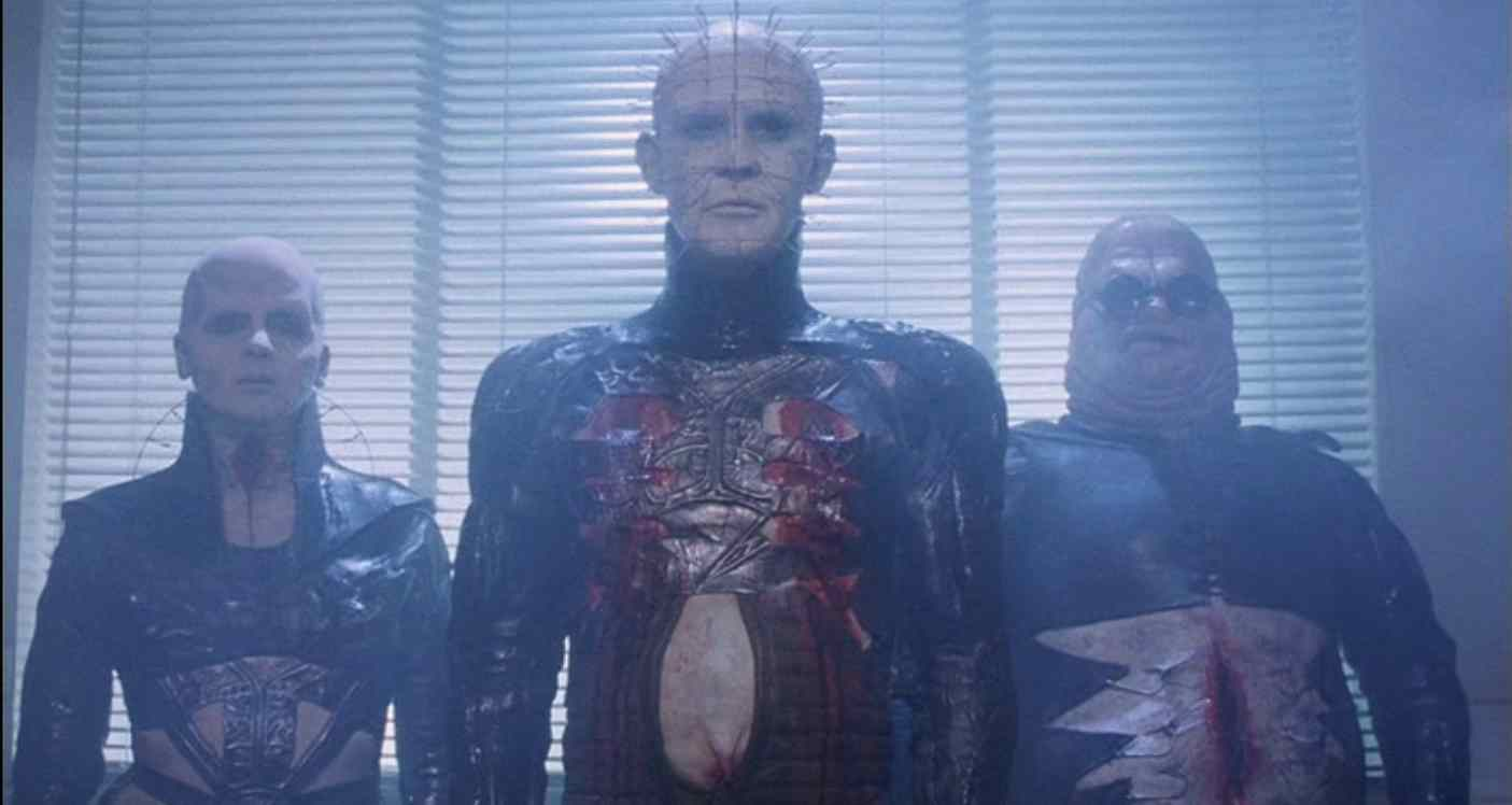 Chatterer, Female Cenobite, and Pinhead (Doug Bradley) in Clive Barker's 1987 Horror film Hellraiser.