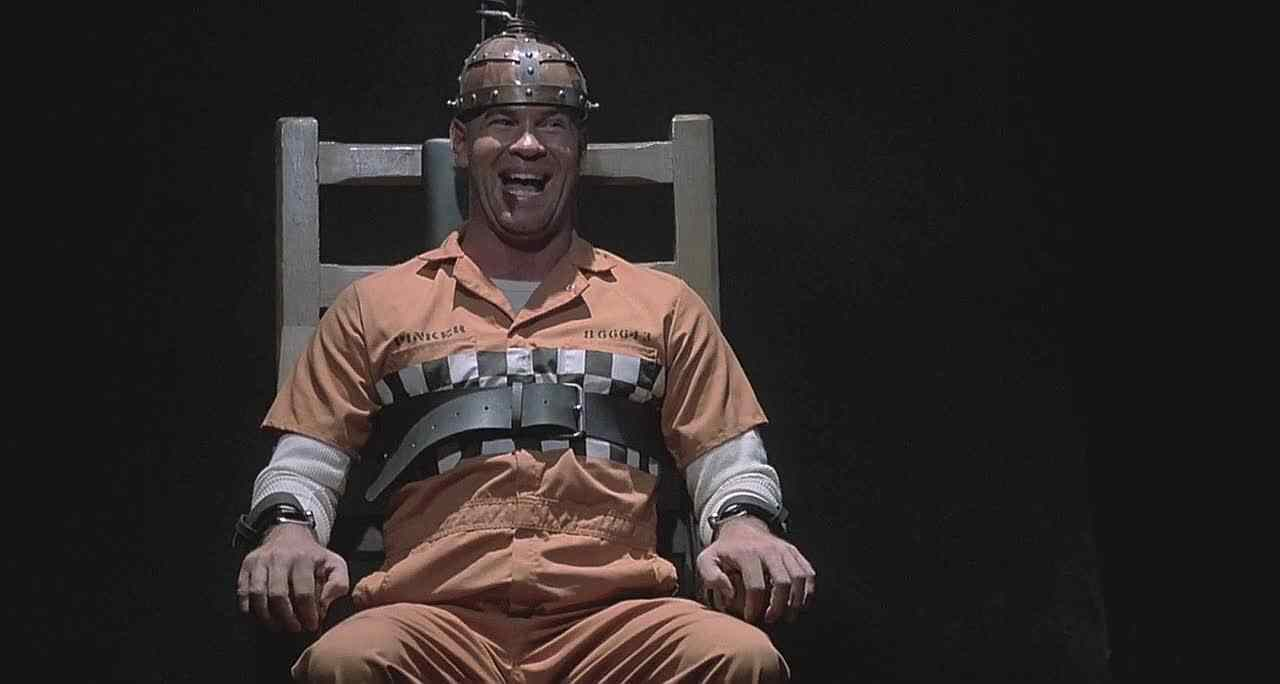 Horace Pinker (Mitch Pileggi) as he is about to be electrocuted in Wes Craven's 1989 horror flick Shocker.