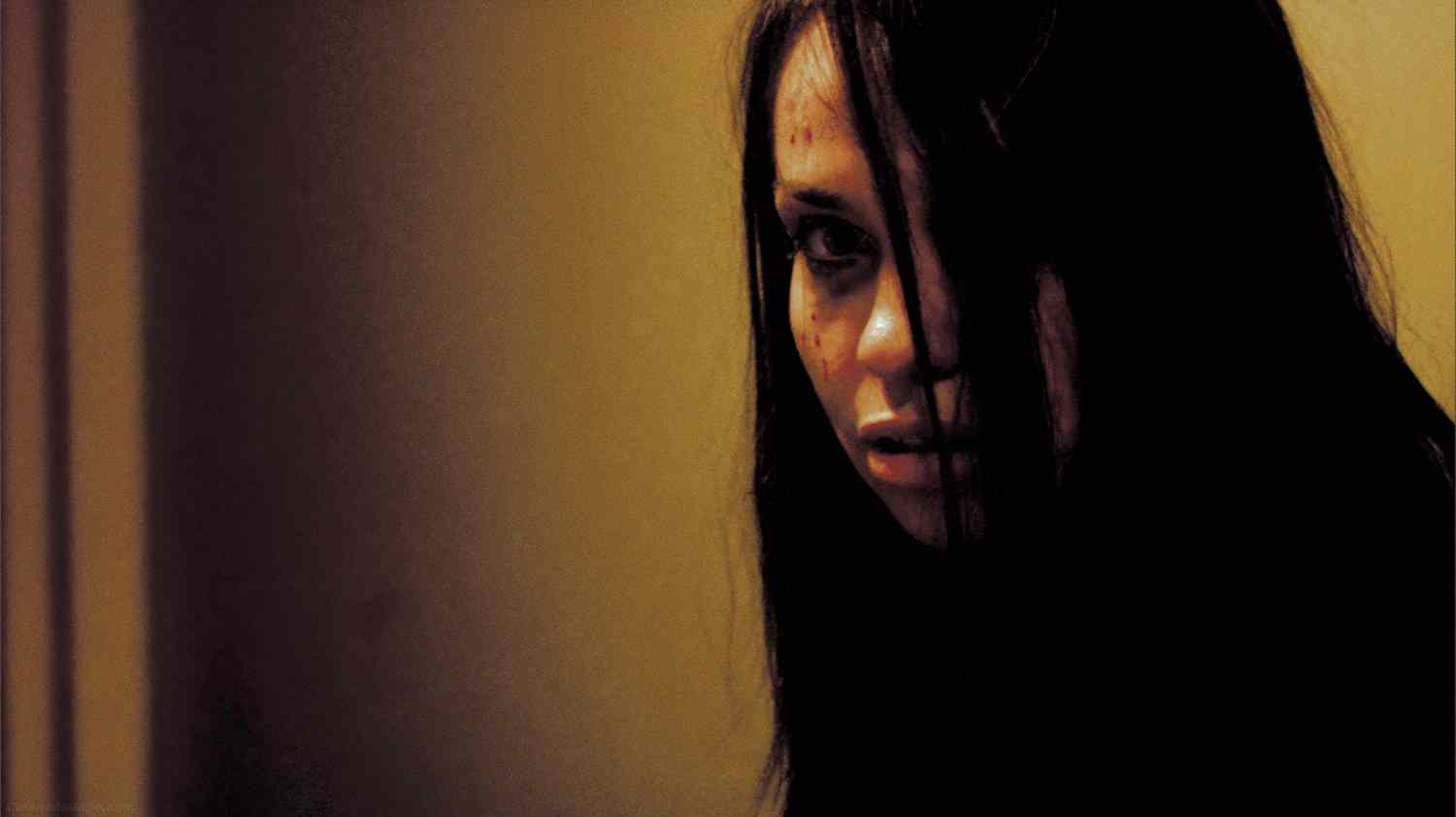 A shot of 'The Woman' (Beatrice Dalle) from the 2007 Alexandre Bustillo and Julien Maury horror film.