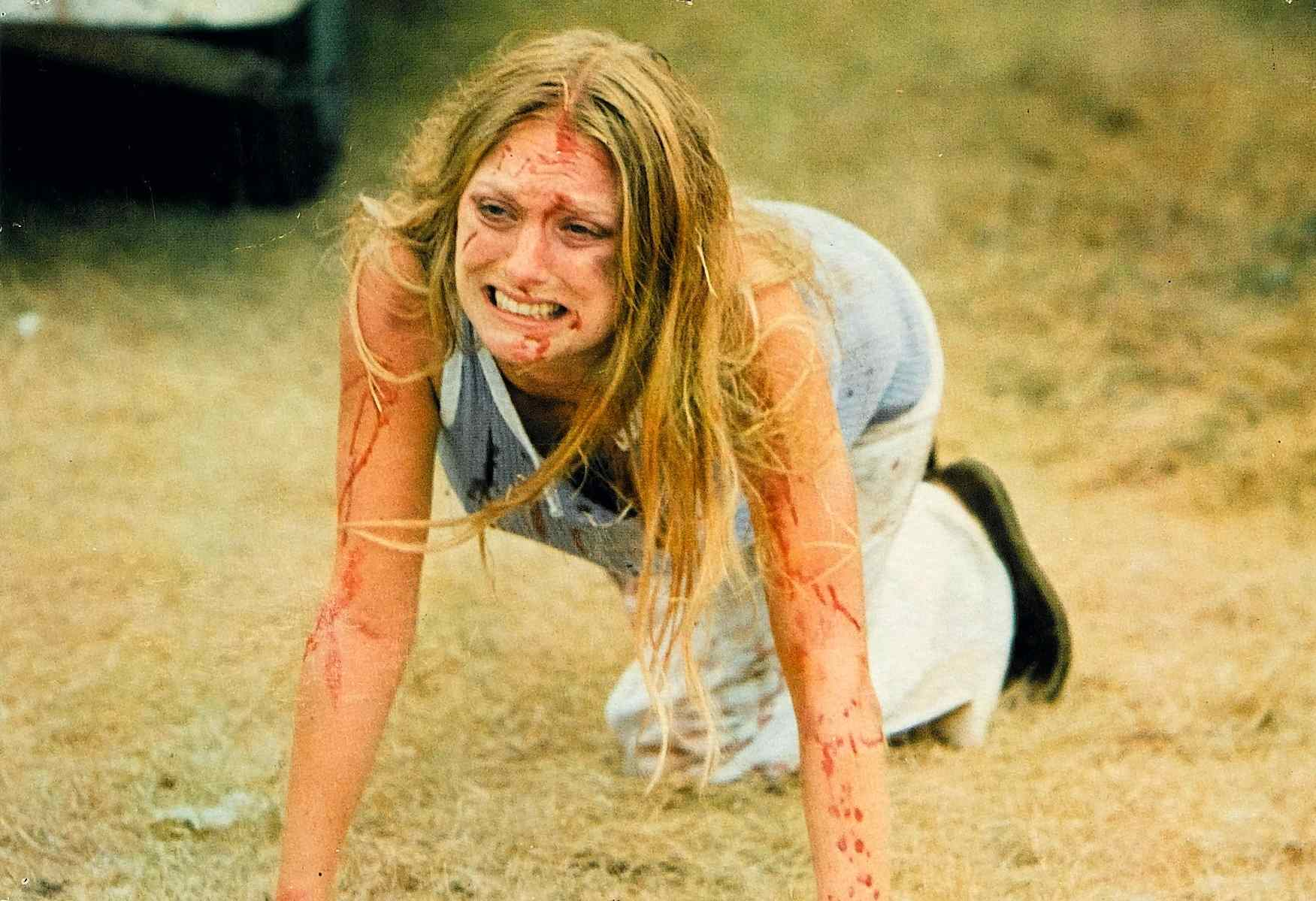 Sally (Marilyn Burns) in Tobe Hooper's 1974 grindhouse masterpiece The Texas Chainsaw Massacre.