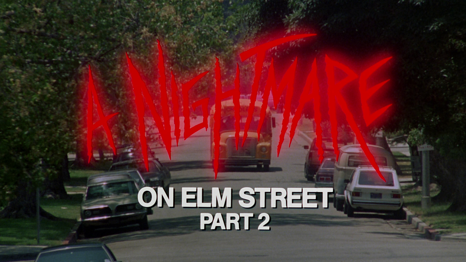 The title screen in Jack Sholder's A Nightmare on Elm Street 2.