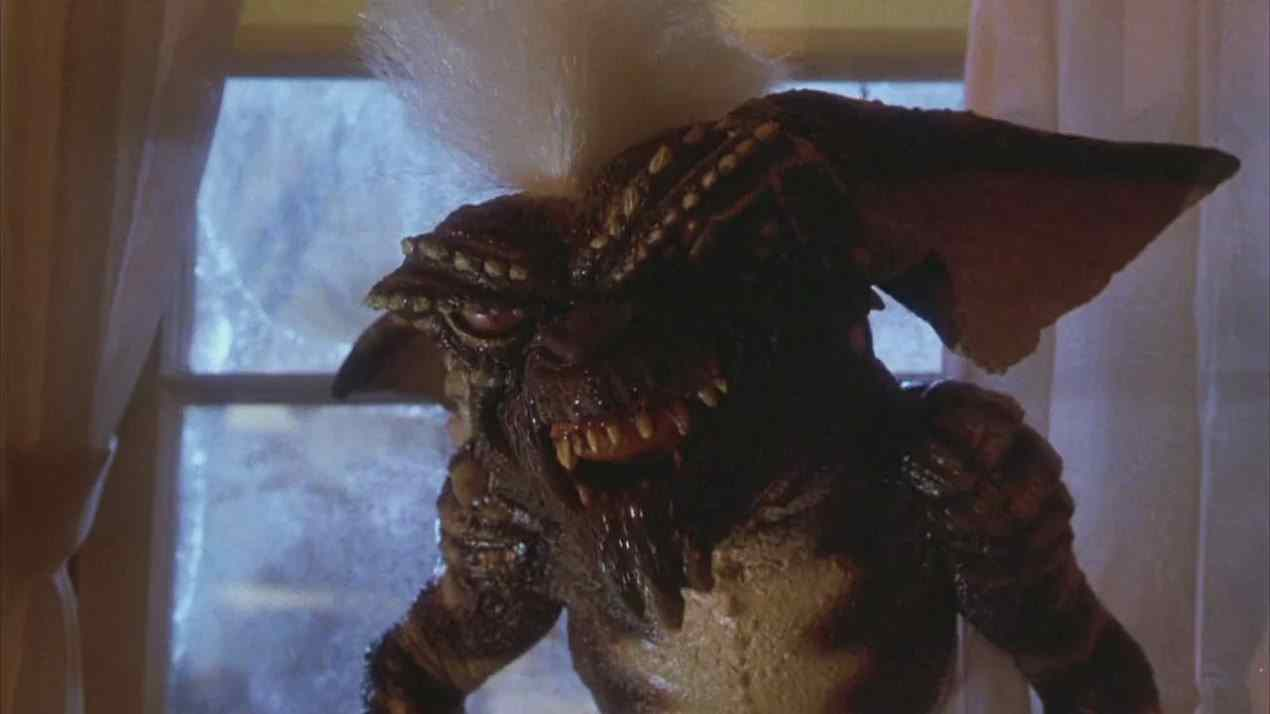 This still image from the Joe Dante directed film Gremlins features Spike, the ringleader of the malevolent Gremlins.