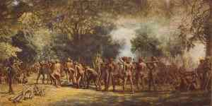 Vintage painting depicting a cannibal feast.