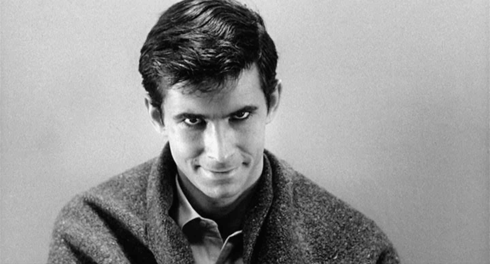 Anthony Perkins as Norman Bates in Psycho, staring at the camera.