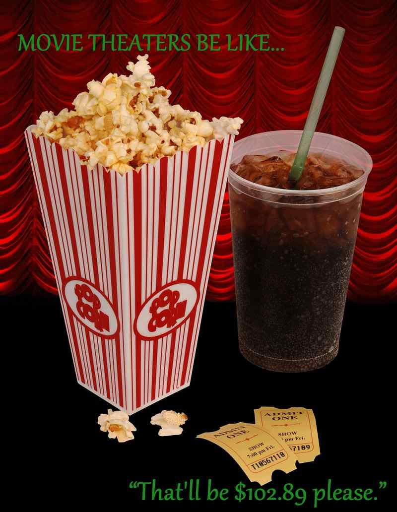 movie theaters and cinemas are so expensive nowadays its a wonder anyone has the funds to actually go.
