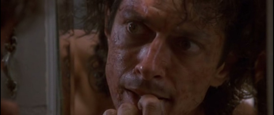 Jeff Goldbloom as Seth Brundle in The Fly.