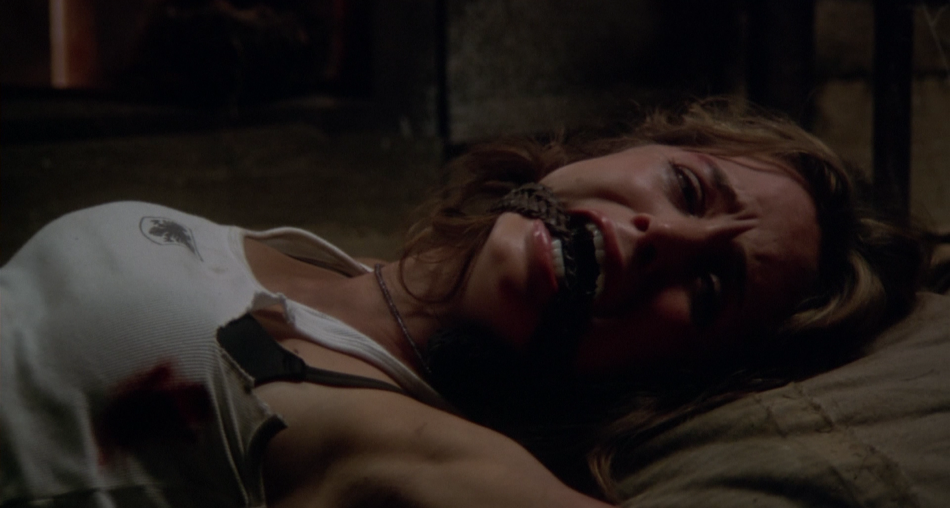 Jessie tied up in the hillbillies' house in Wrong Turn.