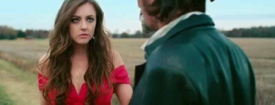 "Katharine Isabelle looking beautiful in red in 2015's ""88""."