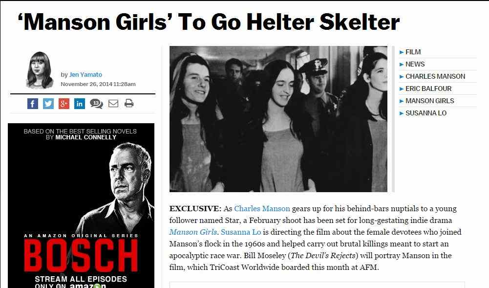 Deadline.com article on Susanna Lo's film Manson Girls.
