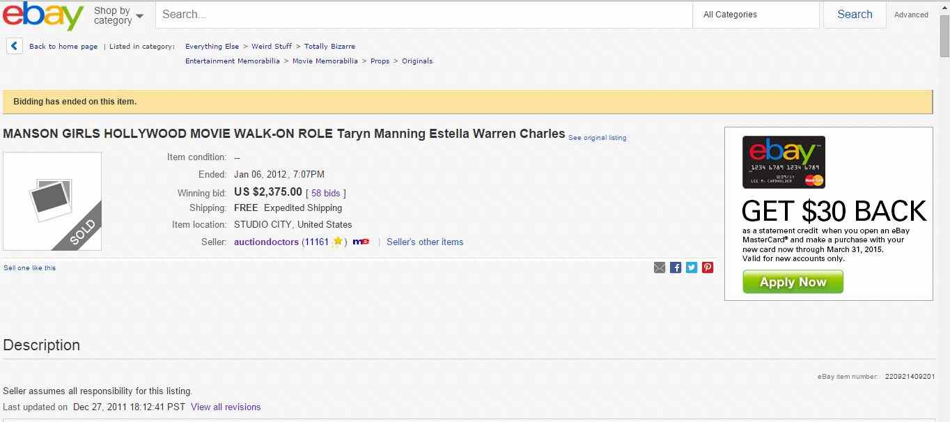Details of the eBay auction selling a walk-on role for Susanna Lo's Manson Girls.