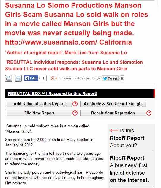 Screenshot of the Ripoff Report filed against Susanna Lo and Slomotion Studios.