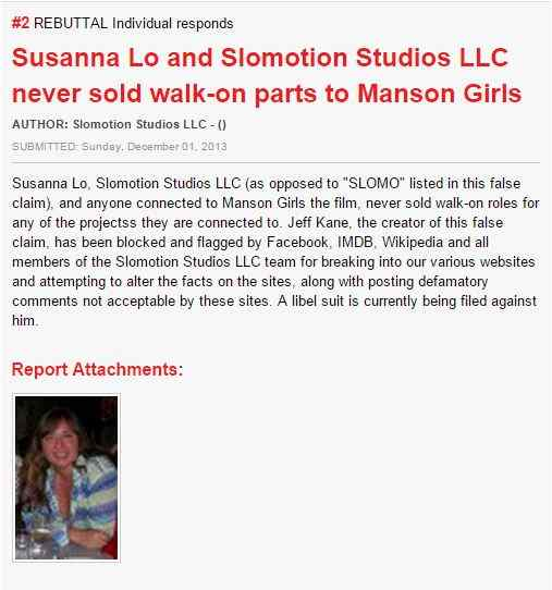 Screenshot of Slomotion Studio's rebuttal to the Ripoff Report filed against Susanna Lo and Slomotion Studios.