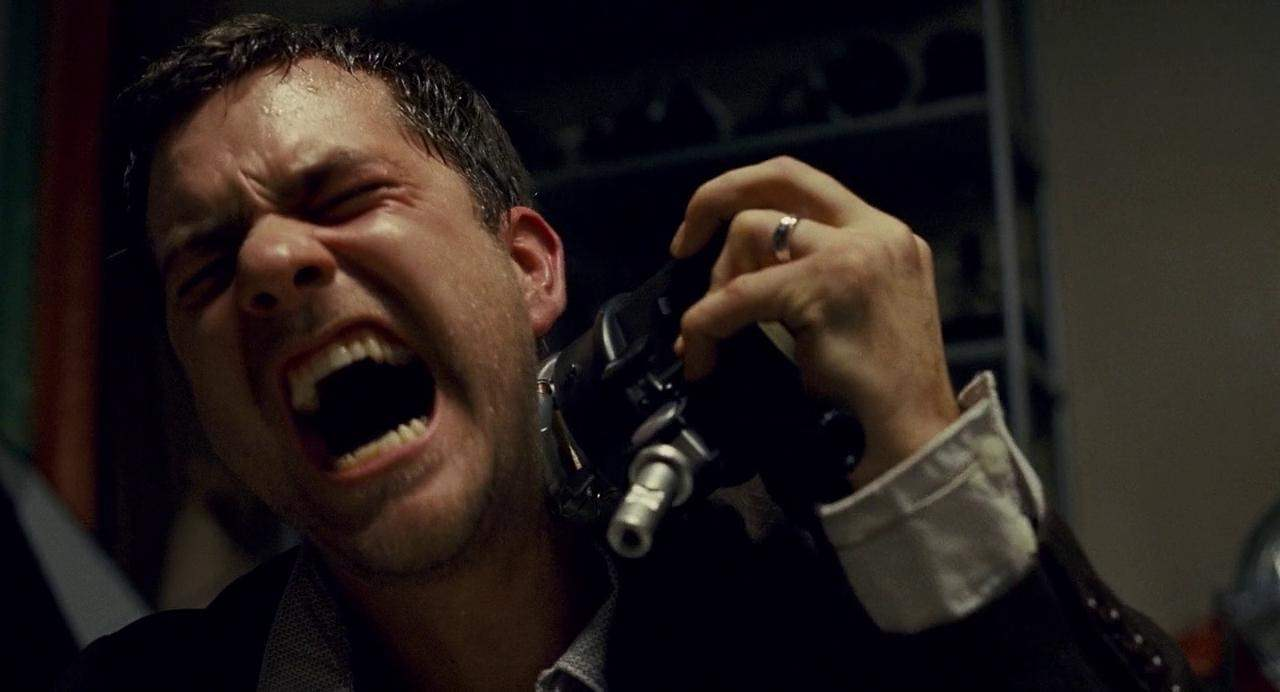 Joshua Jackson strangely decides to hurt himself with a camera light in the Shutter remake.