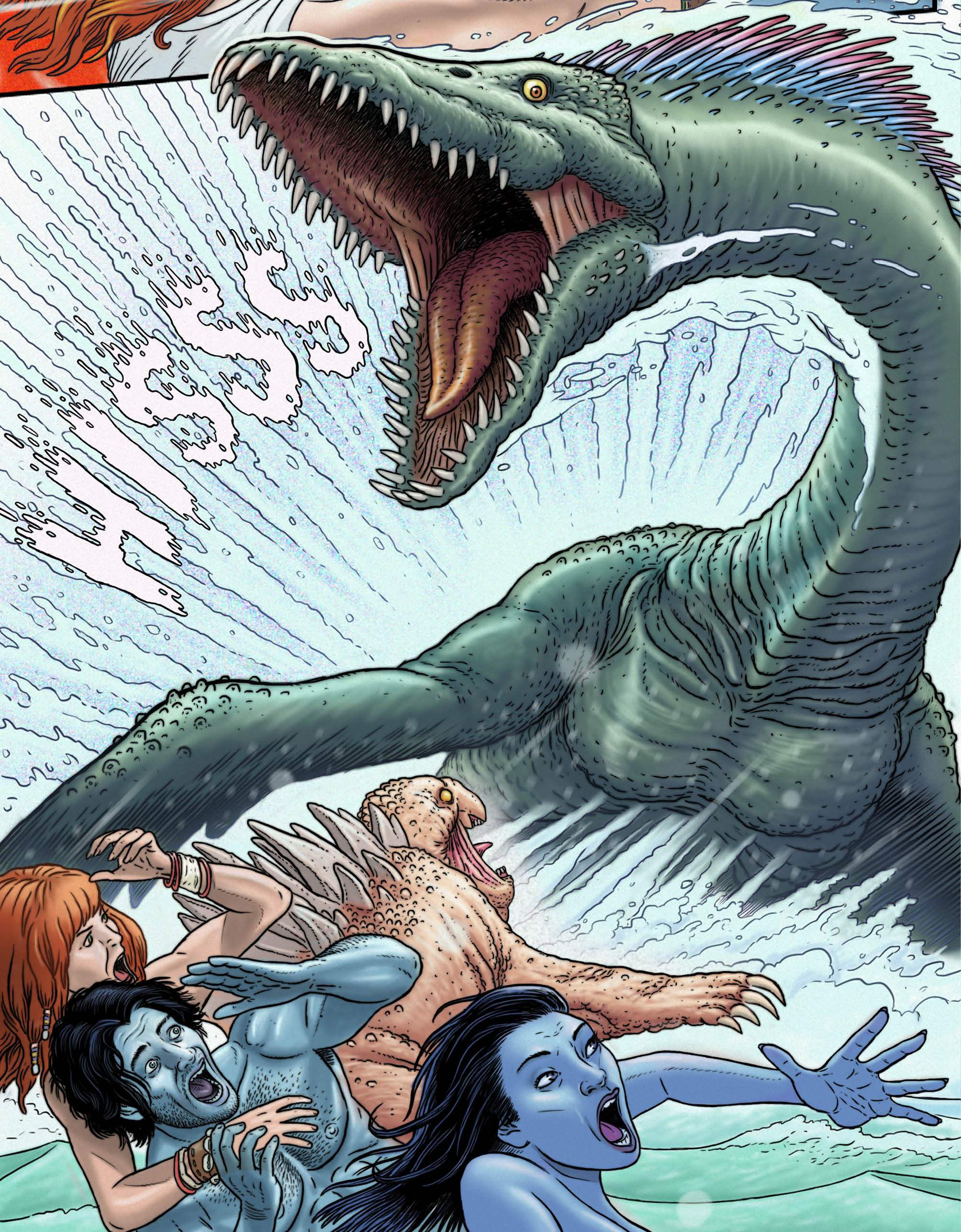 """A sea monster attacks Shauna as she rescues a washed up couple in Jay Gunn's """"Surface Tension"""""""