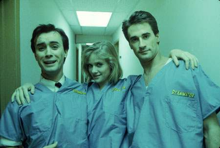 Barbara Crampton and the boys behind the scenes of Re-Animator