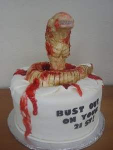 horror genre cake from the movie Alien.