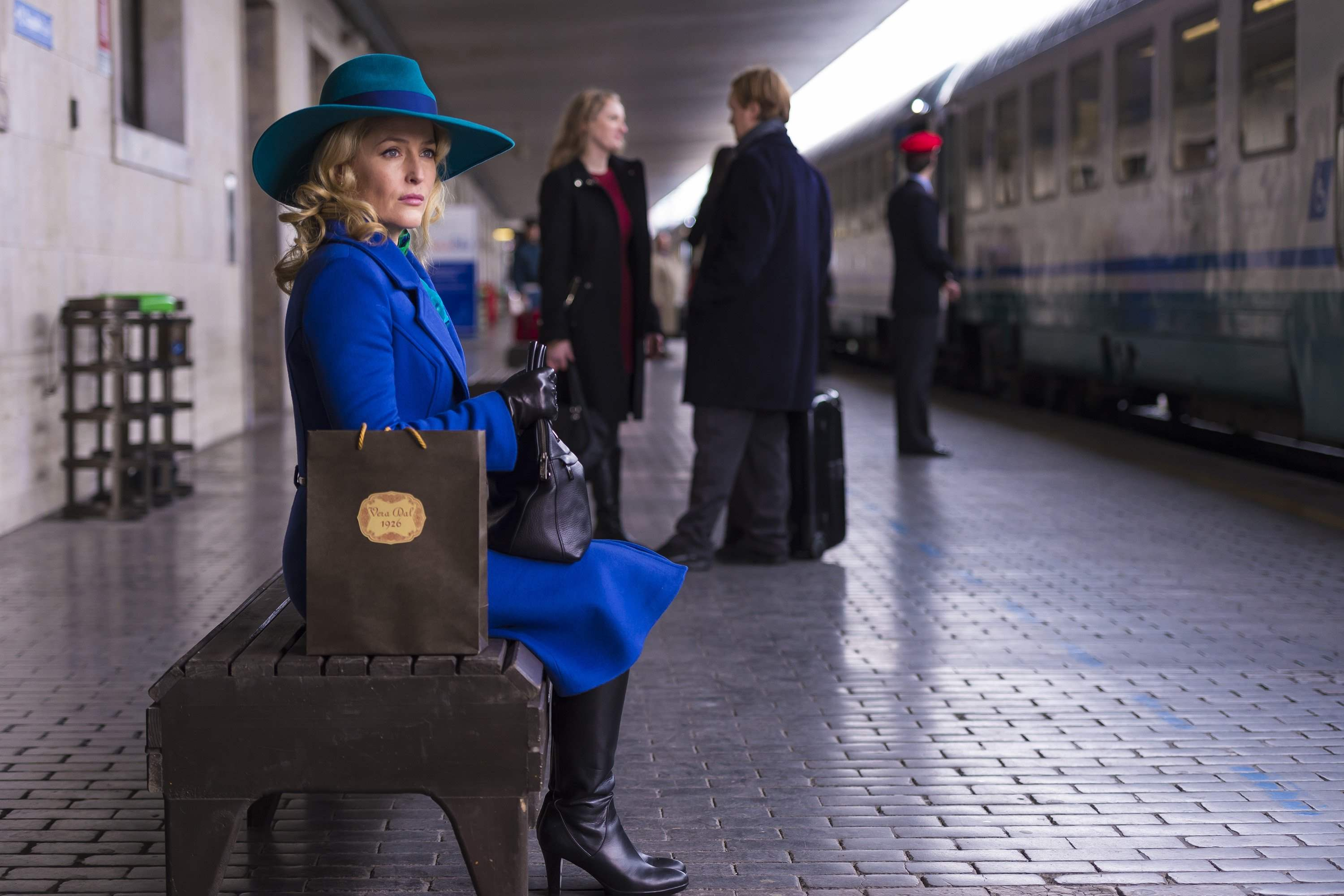 """Bedelia at the train station in episode one, """"Antipasto"""""""
