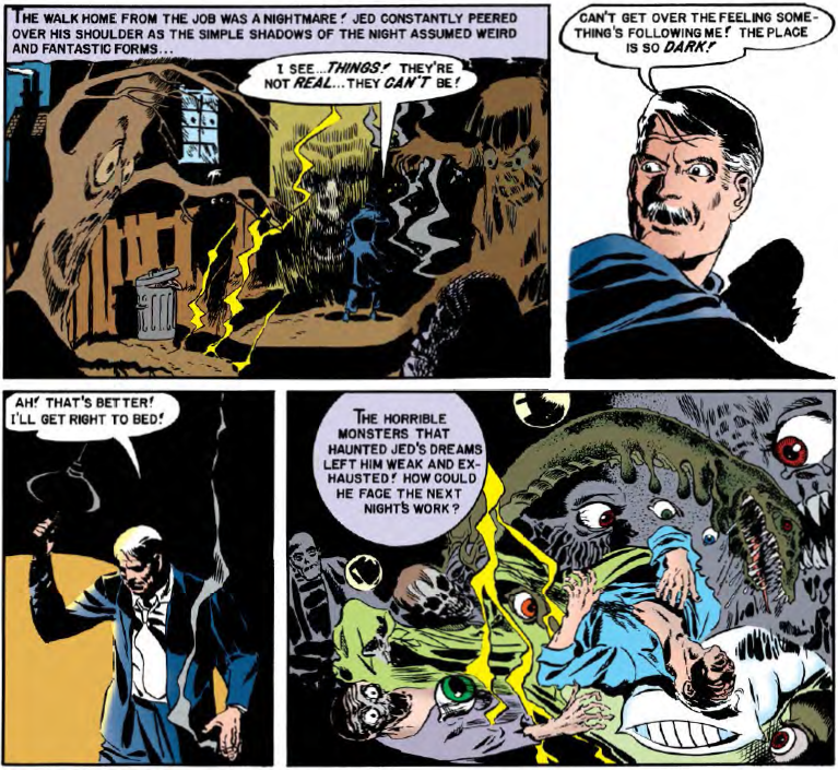 Jed attempts to out run some phantasmic images in an entry from EC Archives - Tales from the Crypt Vol. 1.