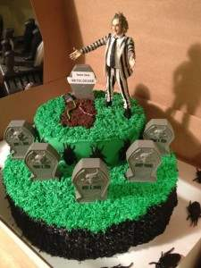 Beetle juice movie themed cake.
