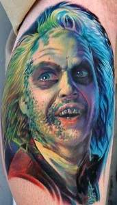Michael keatons character from the movie Beetlejuice horror movie tattoo.