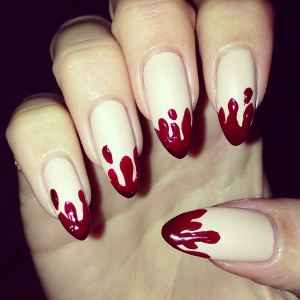 nail art with bloody hands.