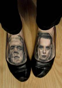 foot tattoos of frankenstein and the bride of frankenstein.