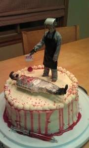 dexter horror tv show themed cake.