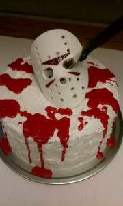 jason voorhees friday the 13th themed cake.