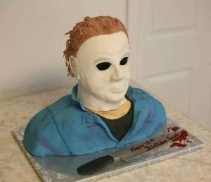 halloween michale myers themed horror cakes.