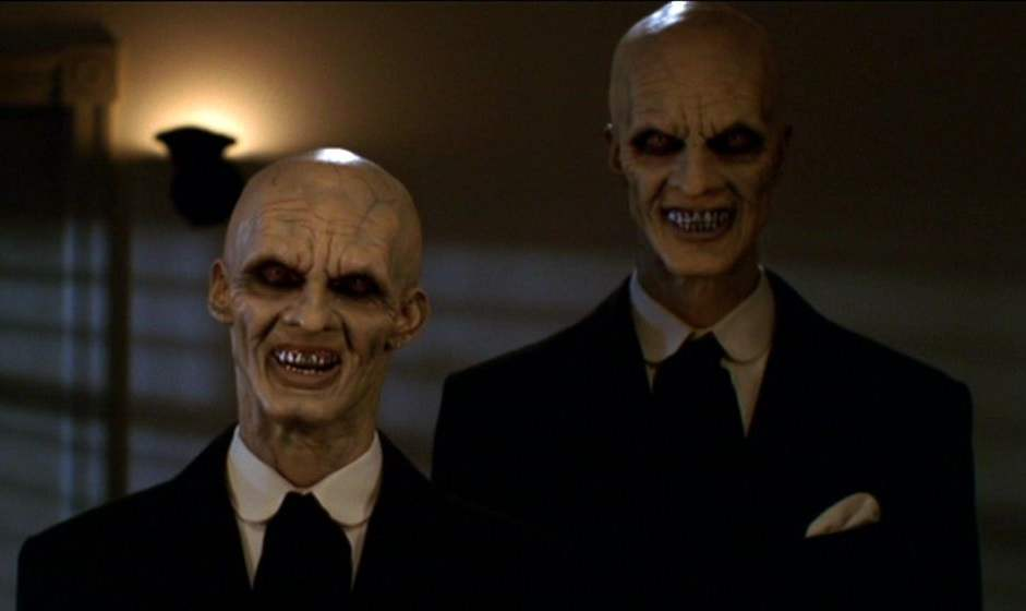 "Camden Toy and Doug Jones as The Gentlemen in the Buffy episode ""Hush."""