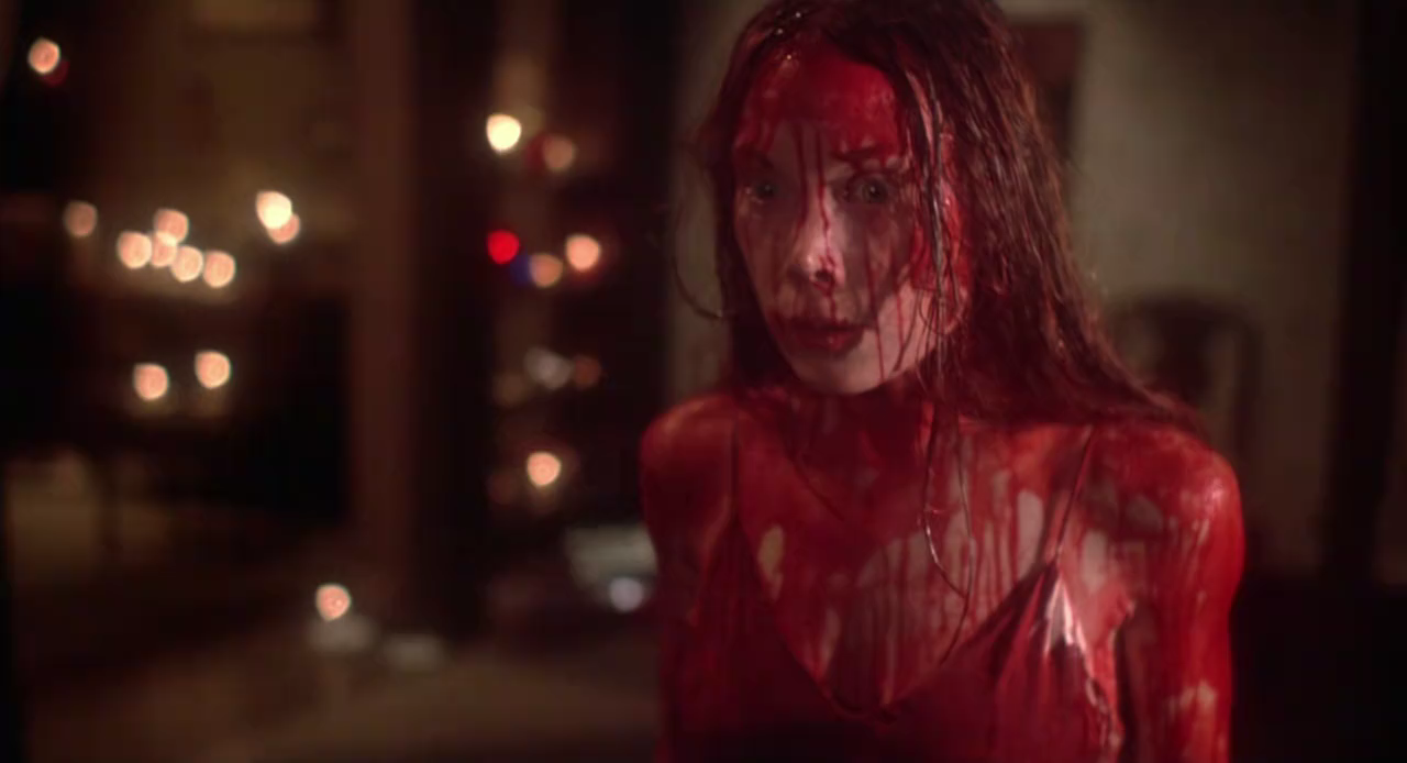 Tortured Carrie gets her revenge on those who have wronged her in 1976's Carrie.