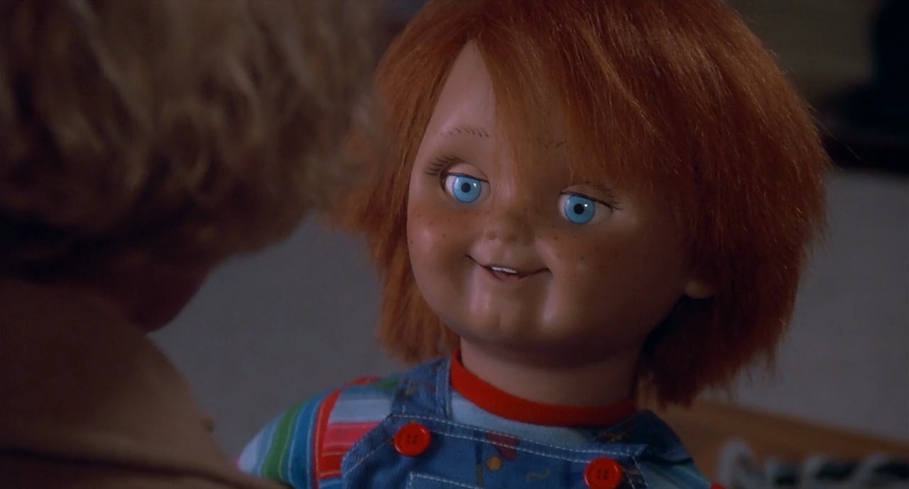 The possessed Chucky doll brings terror to the Barclay family in Child's Play.