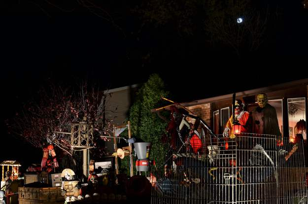 Horror movie inspired Halloween decorated houses.
