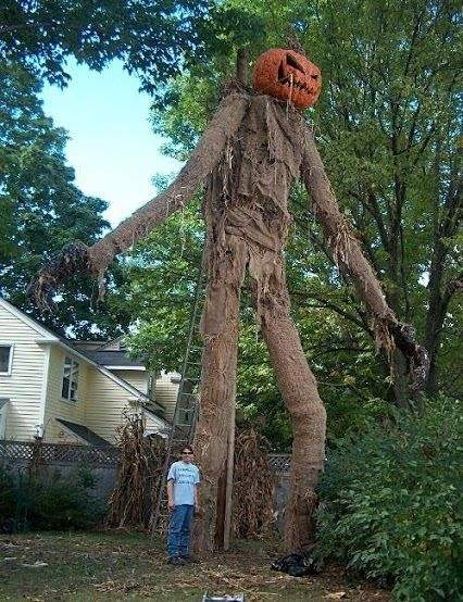 Scarecrow halloween horror decorated house.