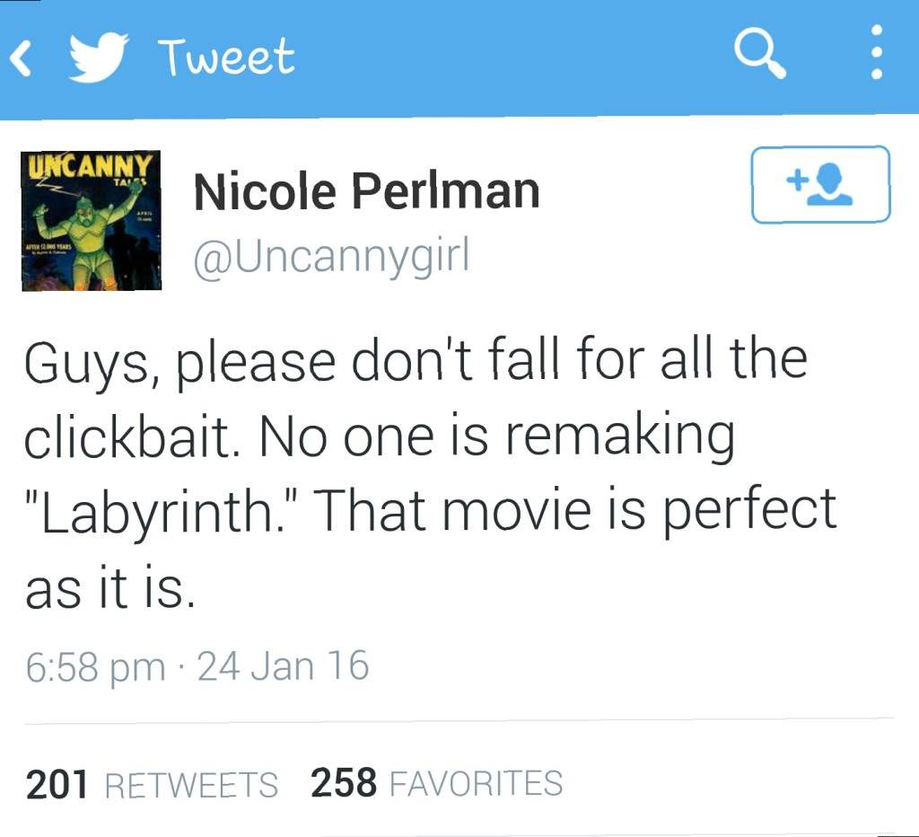 Nicole Perlman takes to Twitter to talk Labyrinth.