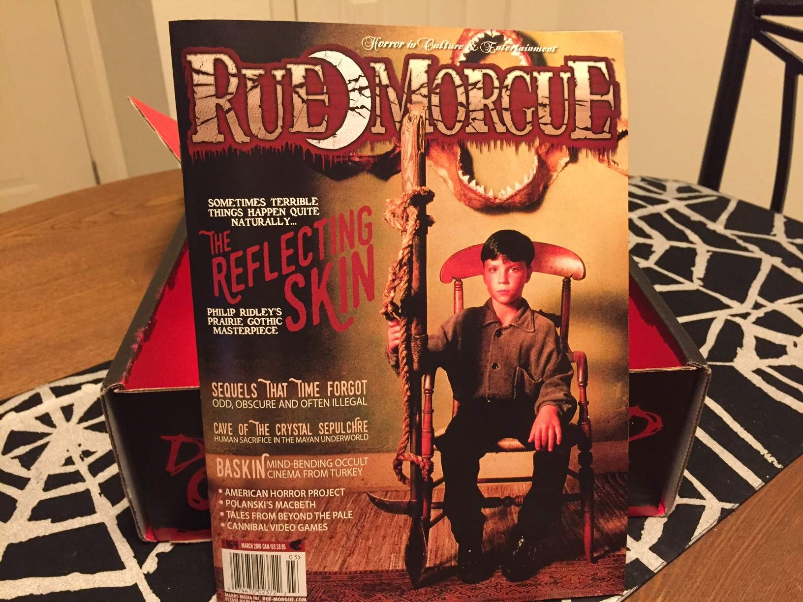 The March issue of Rue Morgue magazine in February 2016's Horror Block