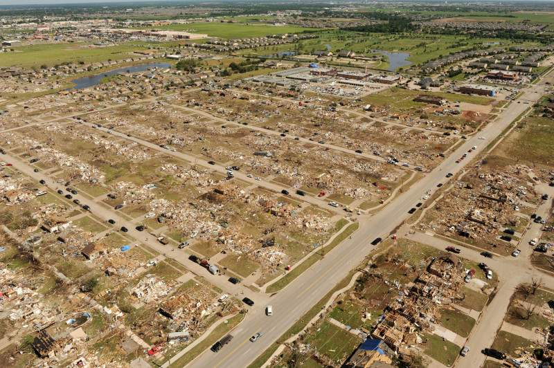 Ariel view of the May 20 2013 tornado, the disaster that served as inspiration for Nick Sanford's 'The Harvesters'