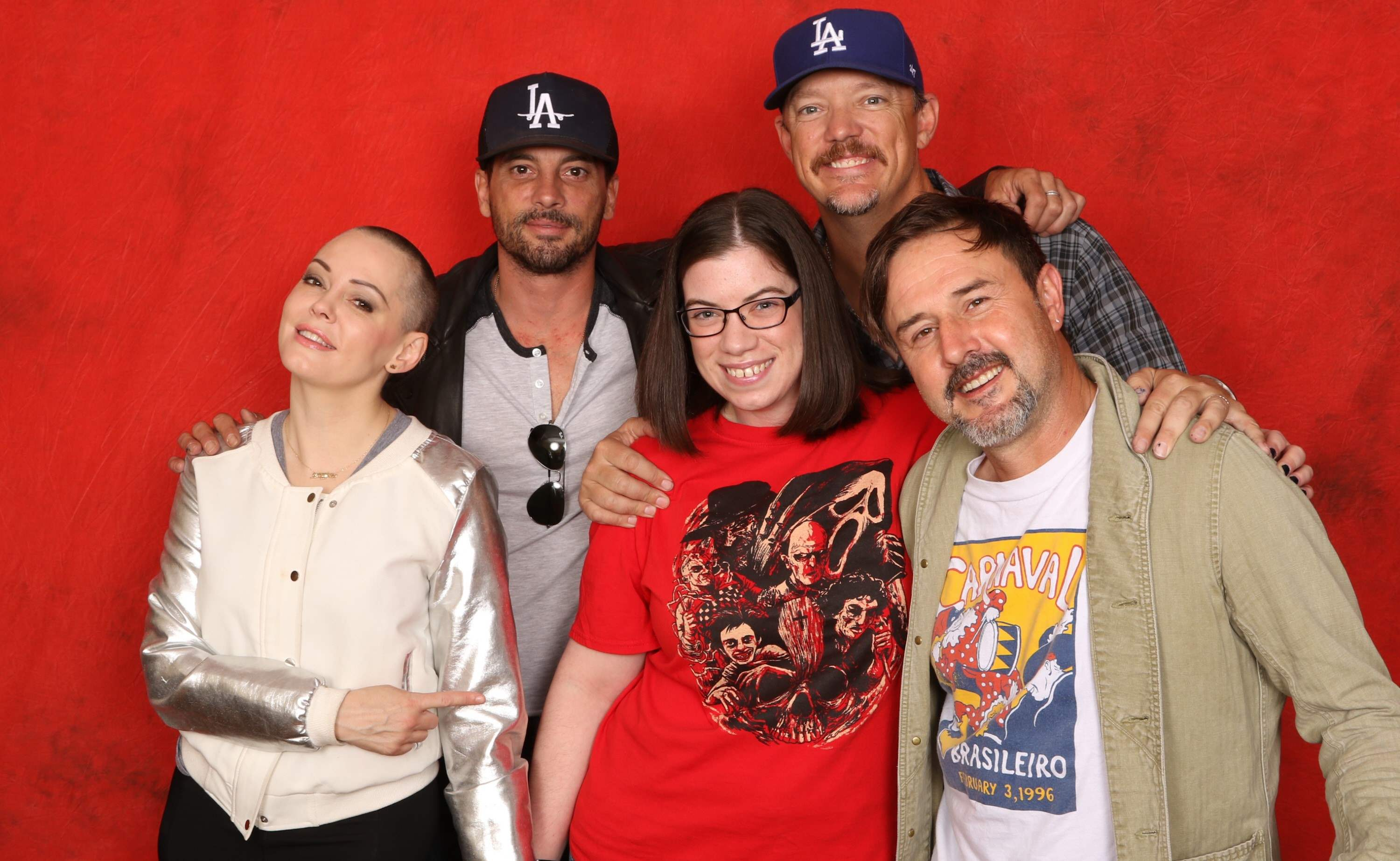 Scream photo op at Texas Frightmare Weekend 2016 with Rose McGowan, Skeet Ulrich, Matthew Lillard, and David Arquette