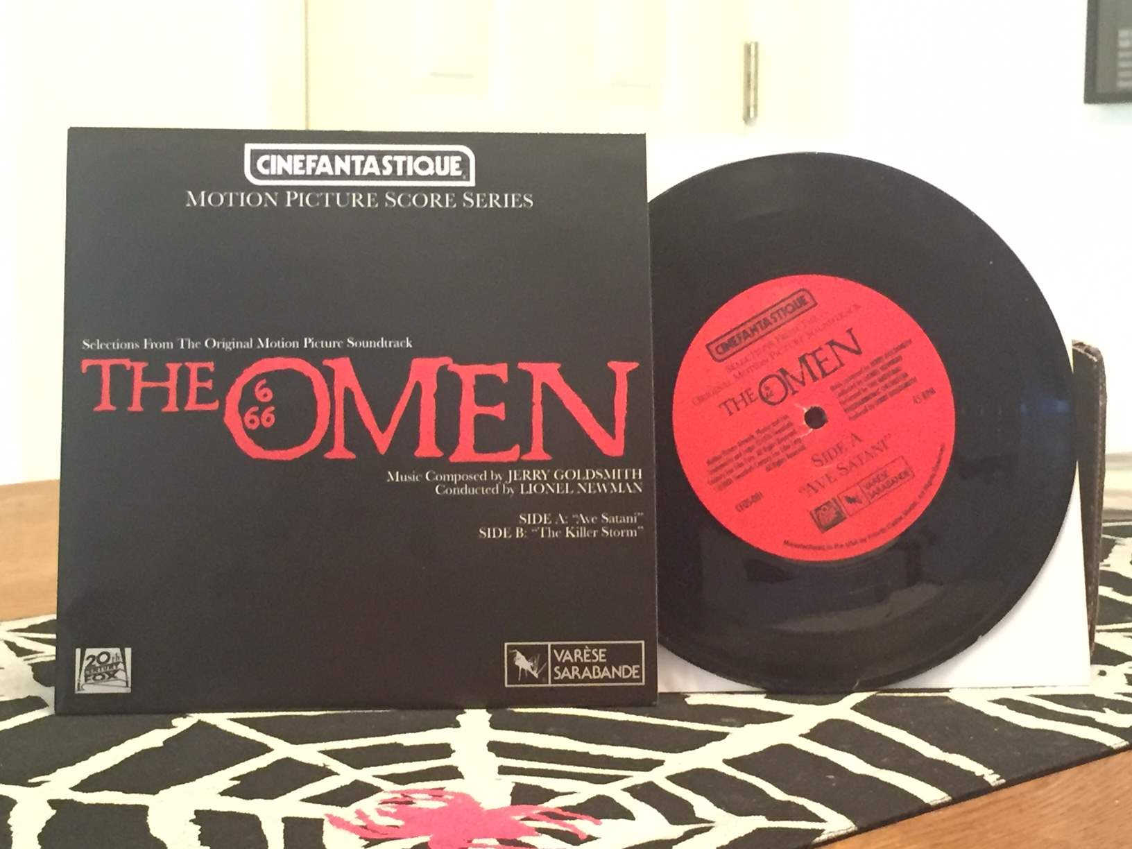 A vinyl soundtrack record for The Omen 1976 in the May 2016 Horror Block