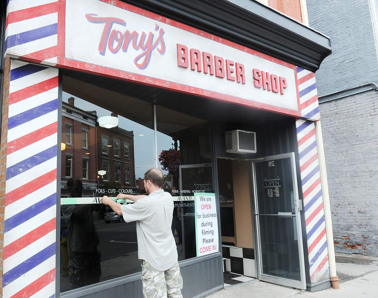 PORT HOPE -- The Avanti Hair Design store front changed to Tony's Barber Shop for the filming of Stephen King's It.