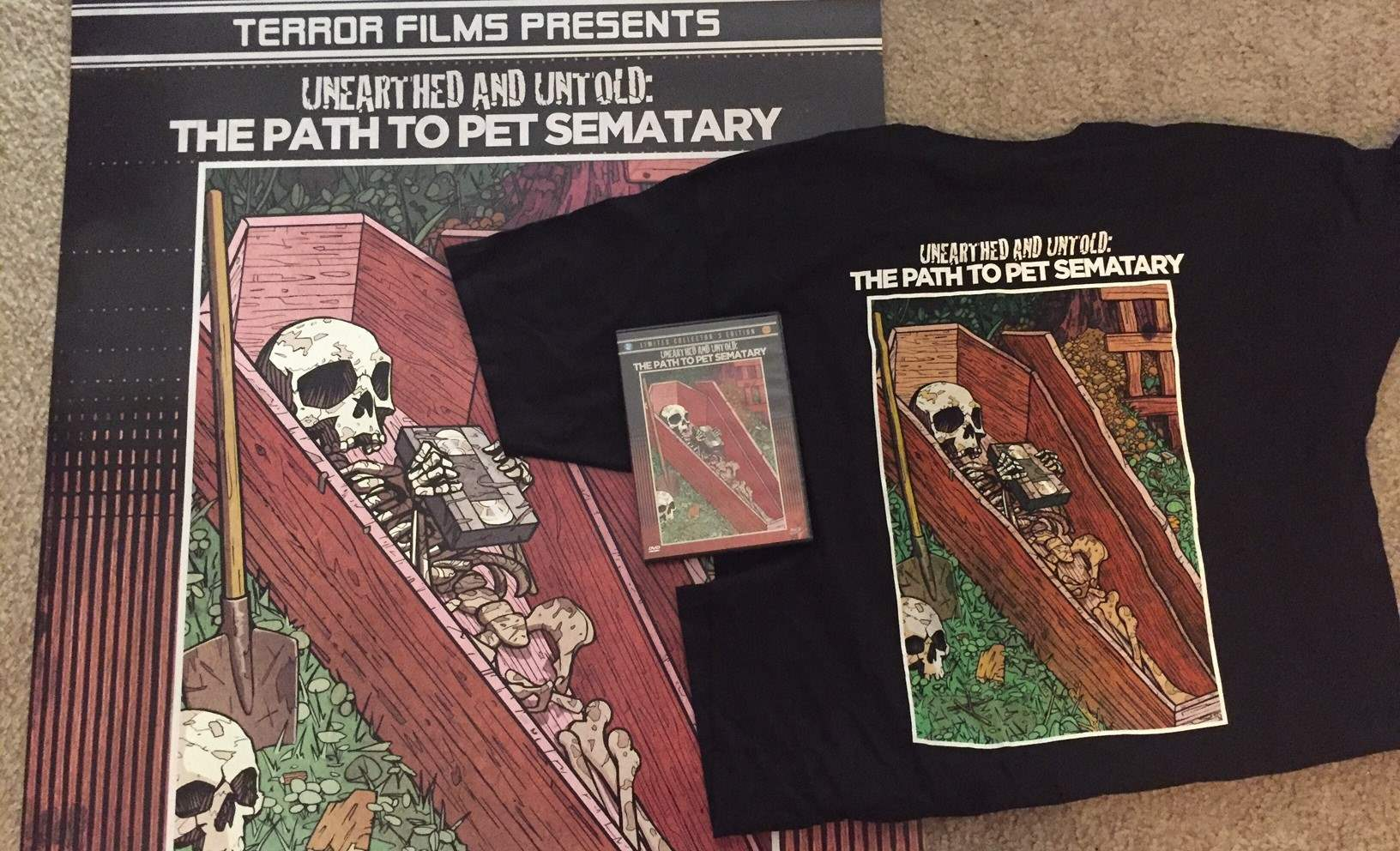 The bundle pack for Unearthed and Untold with DVD/Blu-ray, poster, and t-shirt