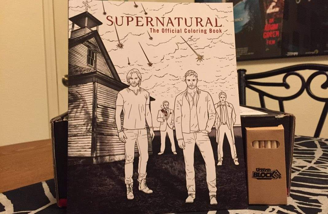 A coloring book of the TV show Supernatural, with colored pencils, in the August 2016 Horror Block